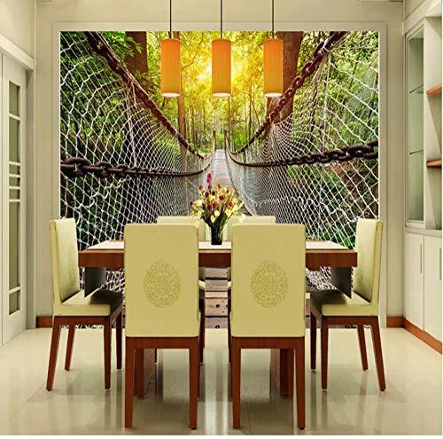 Muurschilderingen op maat Wallpaper Non-Woven HD KTV Cafe Woonkamer TV Muur 3D Natuur Landschap Boardwalk Zonlicht 350(w)x256(H)cm
