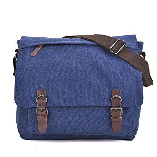 Large Vintage Canvas Messenger Shoulder Bag Crossbody Bookbag Business Bag for 15inch Laptop Jean Blue