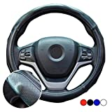 ZATOOTO 軽自動車 ハンドルカバー sサイズ 本革 マッサージ機能付き メッシュ 手触りよく 滑り止め ブラック YWLY115-B