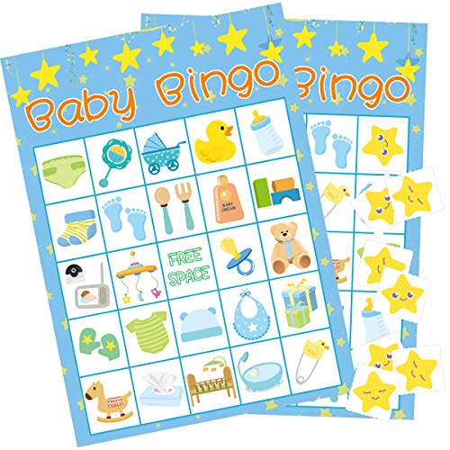 Boy Baby Shower Bingo Game - 24 Guests Party Game Supplies