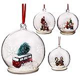 Elizabeth Claus Weihnachtskugeln, handgefertigt, 9 cm, Glas, 4 Stück, transparent