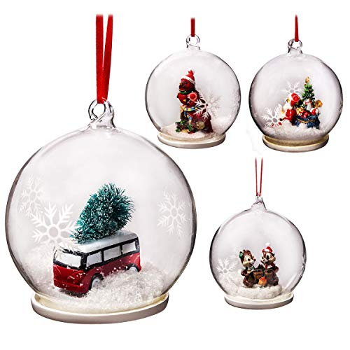 Elizabeth Claus Handmade 9cm Christmas Baubles Ball Glass Ornaments 4 PIECE SET, Winter Clear Christmas Tree Ball Decorations