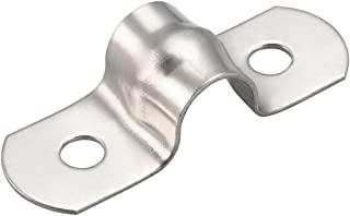 uxcell 8mm Rigid Pipe Strap, 304 Stainless Steel, 2 Holes Clamps, 10 Pcs