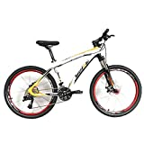 Bero Carbon Frame Mountain Bike, 26' Glossy 30 Speed Carbon Fiber MTB Complete Bicycle (White Orange, 17 inch)