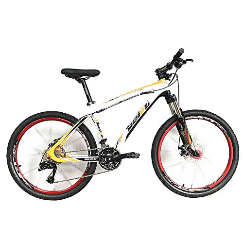 Bero Carbon Frame Mountain Bike, 26' Glossy 30 Speed Carbon Fiber MTB Complete Bicycle (White Orange, 17 inch)