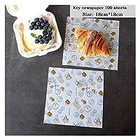 SONGLOU アクセサリー包装ベーキングペーパー食品包装紙パンのサンドイッチフライドポテト (Color : B3.100 sheets)