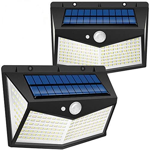 Lámparas Solares Exterior,swonuk 212 LED 2 Unidades Luz Solar Exterior Foco Solar Exterior con Sensor de Movimiento 270º lluminación Lampara Solar para Jardín Camino (2 Piezas,212LED)