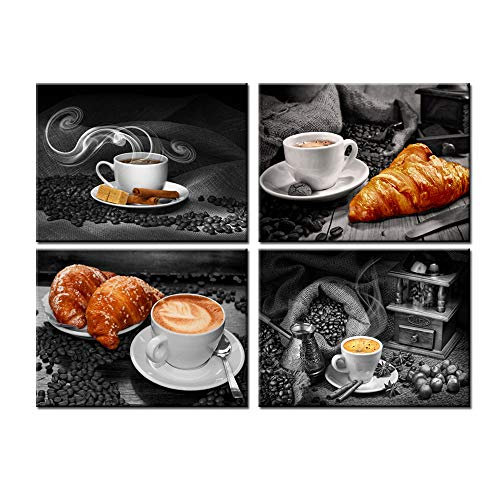 Nachic Wall 3 Piece Kitchen Wall Art Decor Warm Coffee Bread Pictures Canvas Print Black and White Painting Artwork with Frame Modern Dining Room Restaurant Coffee Shop Decorations