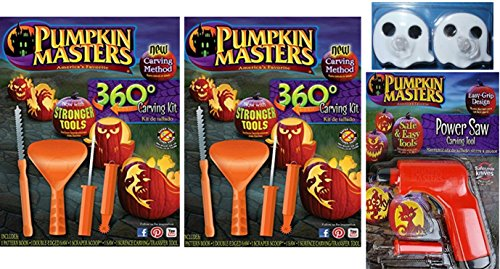 Pumpkin Masters Pumpkin 360 Degree Carving Kit Set of 2, Power Saw Carving Tool & Ghost Tea Lights Bundle