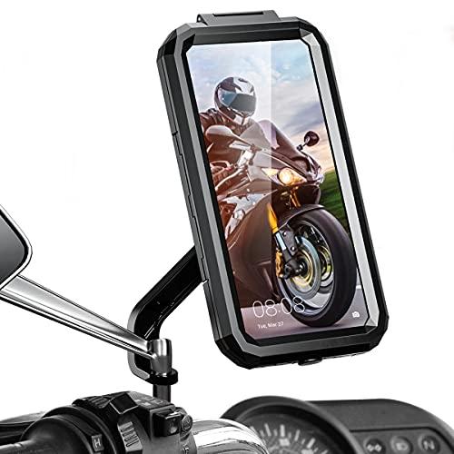 Faneam Universal Soporte Teléfono Móvil Moto Impermeable Soporte Movil para Moto Scooter 360° Rotación Ajustable Soporte de Móvil para Motocicleta con Pantalla Táctil, Fingerprint & Face ID