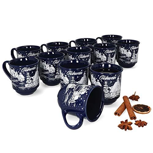 MamboCat 12er Set Glühweinbecher 0,2L mit Eichstrich I klassische Weihnachtsmarkt Tasse mit Wintermotiv I Glühweintassen mit Henkel I Gastronomiebedarf Geschirr I Becher aus Keramik dunkelblau