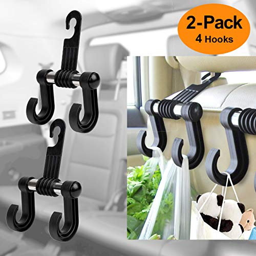 pidien Car Hooks Back Seat Headrest Hook Universal Auto Vehicle Headrest Hanger Storage Organizer for Hang Groceries Clothes Umbrella Handbags Water Bottles Kids Toys Baby Supplies(Black-Set of 2)