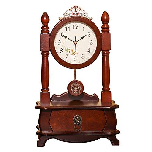 SESO UK- Style Chinois Salon Grande Chambre Mute Solide Bois Pendule Horloge Creative Bureau Horloge Rétro Horloge