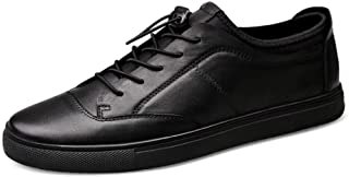 XUJW-Shoes, Fashion Skate Sneakers for Men Skateboard Flat Walking White Shoes Lace up Genuine Leather Low Top Antislip Durable Comfortable Walking Shopping (Color : Black, Size : 6 UK)