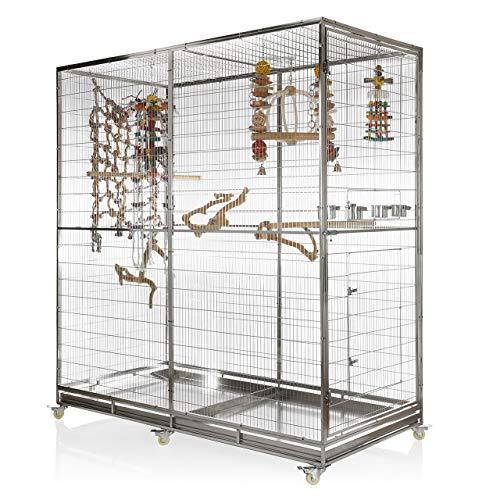 Wagner's ® | Voliere aus Edelstahl mit Schublade - Edelstahlkäfig 200 x 220 x 100 cm der Papageienkäfig für den Graupapagei