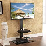 37-60 Inches LED LCD TV Floor Stand with Shelf Tempered Glass Base