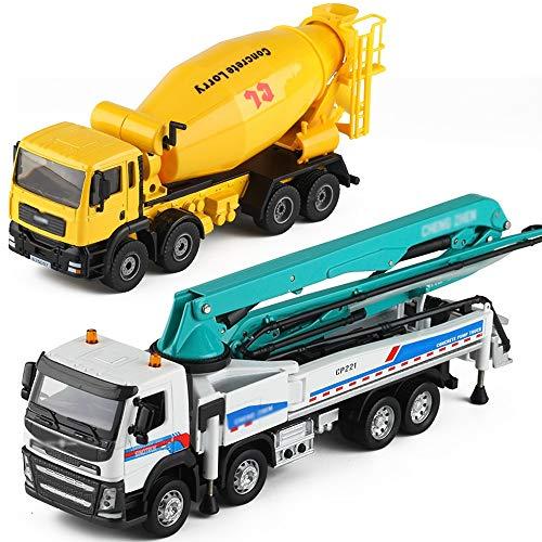 Xolye Cement Mixer Truck Pump Set Kombination Spielzeug Simulation Technik Auto-Modell-Legierung Sound and Light Cement Truck Pump Boy Toy Car Metall Anti-Sturz Tanklastzug Kinder Spielzeug-Auto