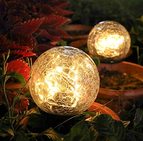 Dailyacc Garden Solar Ball Lights Globe Cracked Glass Outdoor Lamp Waterproof Warm White Led for Outdoor Pathway Walkway Patio Yard Lawn