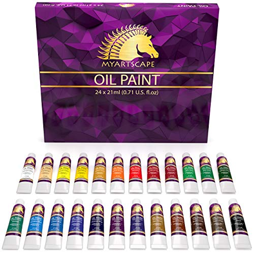 Oil Paint Set - 24 x 21ml Tubes - Artist Quality - Rich Vivid Oil-based Colors - Lightfast - Heavy Body - Great Saturation - Glossy Finish - Professional Painting Supplies by MyArtscape