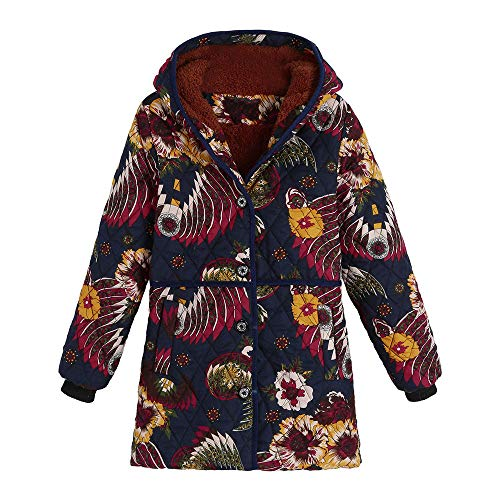 Check Out This jin&Co Ladies Parka Coat Winter Warm Velvet Thick Outwear Classic Printed Hooded Fleece Jacket Overcoat Plus Size Orange