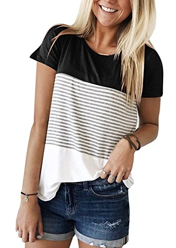 Yidarton Damen Sommer T-Shirt Casual Streifen Patchwork Kurzarm Oberteil Tops Bluse Shirt (Large, Schwarz)