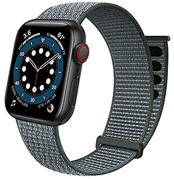 Sport Loop Band Compatible with Apple Watch Band 38mm 40mm 42mm 44mm iWatch Series 6 5 SE 4 3 2 1 Strap Nylon Women Men Stretchy Elastic Braided Adjustable Wristband 38mm 40mm Storm Gray