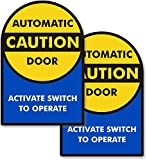 SmartSign'Caution - Automatic Door, Activate Switch to Operate 2-Sided Window Decal | 9' x 6' Polyester