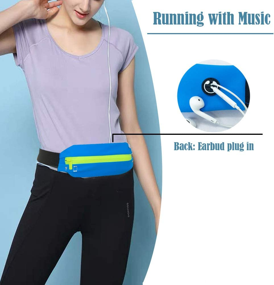 KAXYEW Running Belt Fanny Waist Pack for Runner No-Bounce Runner Pouch for iPhone 6 7 8 X Workout Fanny Pack for Men Women Adjustable One Size Expandable Performance Sport Running Pouch