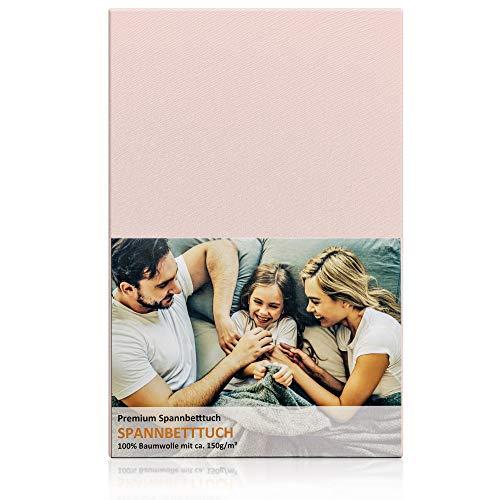 Blossom N8 Spannbettlaken mit 150 gr/m²/ für Babybett & Kinderbett / Größe 60x120 cm bis 70x140 cm / 100% Baumwolle Premiumqualität in rosa / produziert in Europa