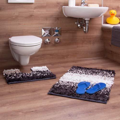 Relaxdays Badgarnituur 2-delig in papier Shaggy-design, voor vloerverwarming, wasbaar, badmat en toiletmat, voor staande toilet, 80 x 50 cm, bruin/beige