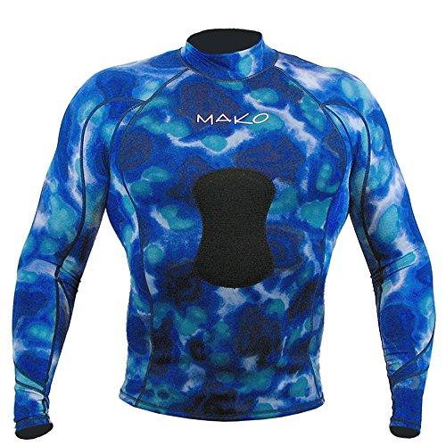 Wetsuit Shirt Spearfishing Blue Camouflage Lycra Long Sleeve - 1.5mm (XX-Large)