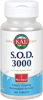 KAL S.O.D. 3000 | Superoxide Dismutase and Catalase | Antioxidant Activity | Enteric Coated for Maximum Assimilation | Lab...