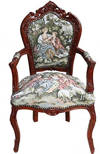 Casa Padrino Barock Esszimmer Stuhl mit Armlehne Gobelin 'Love Story ' - Antik Stil