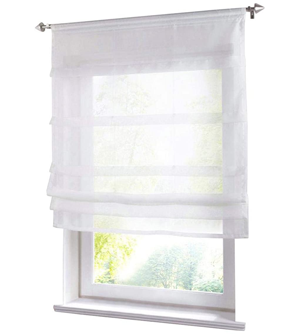 86 York Liftable Organza Kitchen Balcony Curtains,Tie-Up Rod Pocket Roman Window Shades Sheer Voilet Window Vanlance 1 Panel
