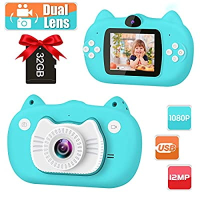 GKTZ Kids Camera Digital Dual Lens Video Cameras for Children Toys Camcorder with 2 Inch IPS Screen 12MP 1080P HD Toddler Cameras Gifts for Kids 3 - 10 Year Old Boys Girls with 32GB Memory Card from GKTZ