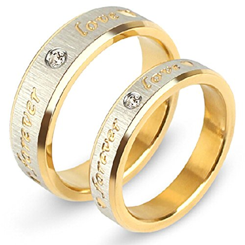 Peora Two Toned Love Forever Promise Couple Rings for Lovers Wedding Engagement Gift Valentine Jewellery Sets for Men and Women Girlfriends Boyfriends