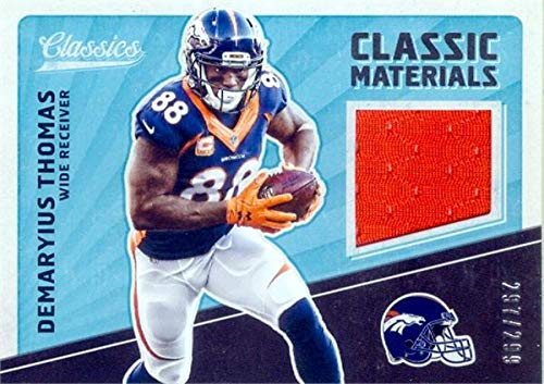 Demaryius Thomas player worn jersey patch football card (Denver Broncos) 2017 Panini Classic Materials #CMDT LE 297/299