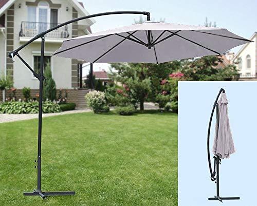 IMC zonnescherm grijs parasol scherm Ø3m met standaard zwengel zonnescherm OVP