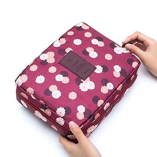 Redcolourful Sac de maquillage professionnel portable Sac cosmétique Sac de rangement Poignée Organiseur Sac de voyage Fleurs rouges