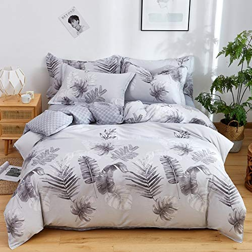 DACHANGTUI Printed Gray Leaves bedding sets 100% Cotton Home Bedding Set 3-4pcs Beautiful Pattern with Star tree flower