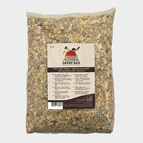Seedzbox Mezcla de Semillas, Bolitas de sebo para Aves Silvestres. Comida pájaros Salvajes. Proteína y Fibra: maíz, Trigo, pasas. Atrae herrerillos, mirlos, petirrojos y más. 2kg