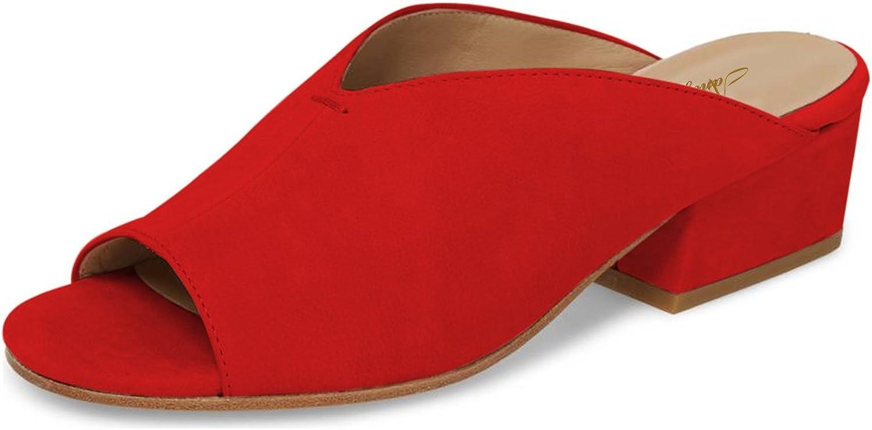 NJPU Women Peep Toe Low Heel Clog Mules Slip on Slide Sandals Casual Slipper Block shoes