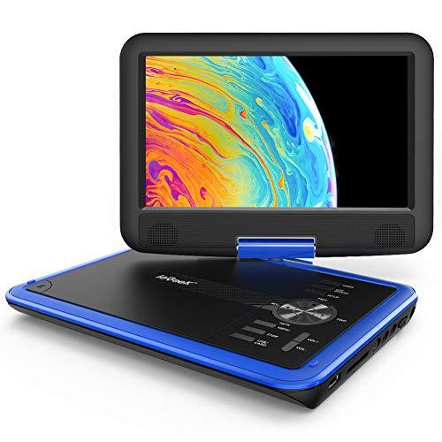ieGeek 11.5  Lettore DVD portatile con lo schermo girevole a 360° per protezione occhi LCD, batteria ricaricabile potenziata di 5 ore, riproduzione memoria supportata, riproduzione loop (Blu)