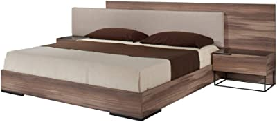 Limari Home Valentin Collection Modern Style Veneer Finished Italian Platform Bed With Fabric Upholstered Headboard & 2 Nightstands Walnut & Gray