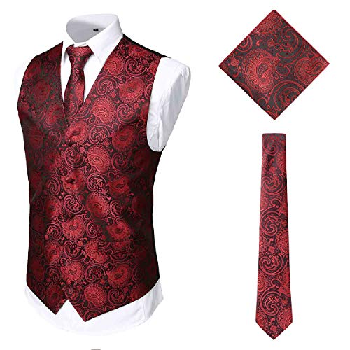 WHATLEES Herren Klassische Paisley Jacquard Weste & Krawatte und Einstecktuch Weste Anzug Set, Ba2010008xburgundy, XXL