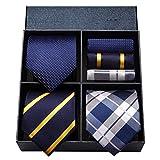 HISDERN Lote 3 PCS Set de corbata para hombre Banquete de boda de negocios clasico Lunares...