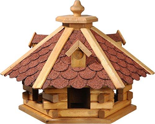 dobar Rustikales Vogelfutterhaus im Blockhaus-Stil mit rotem Bitumendach, Vogelhaus mit 6 Einfluglöchern, Kiefer, XL