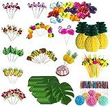 Queta Set de Décoration de Fête Tropicale Hawaïenne - 147 Pcs DIY Cartes de Gâteau Bâtons de Pièce Table Toothpick de Mariage Anniversaire Décoratifs Party Supplies