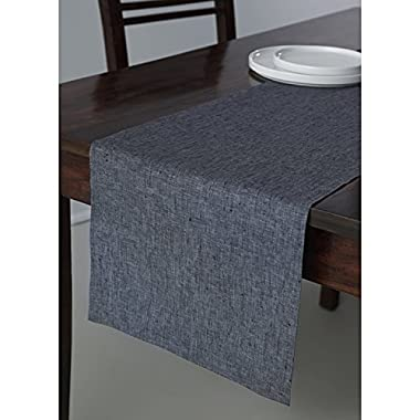 Solino Home 100% Pure Linen Table Runner Athena, Natural Fabric Handcrafted Runner, Grey 14 x 72 Inch