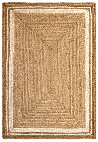 HAMID Alfombra Yute Alhambra Color Natural Greca Blanca - Alfombra 100% Fibra de Yute (160x230cm)